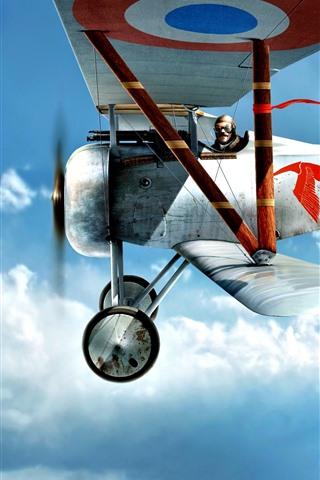 iPhone Wallpaper Biplane, pilot, sky, flight