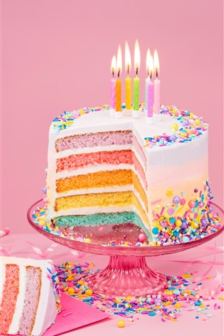 Strange Birthday Cake Colorful Layers Rainbow Color Candles Flame Funny Birthday Cards Online Elaedamsfinfo