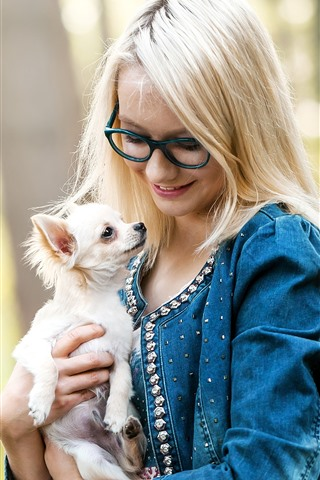 iPhone Wallpaper Blonde girl, glasses, dog