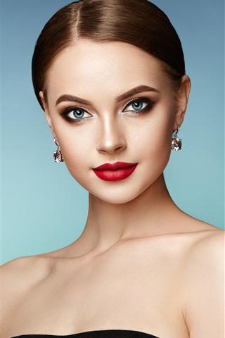 iPhone Wallpaper Blue eyes fashion girl, makeup, earring, red lip
