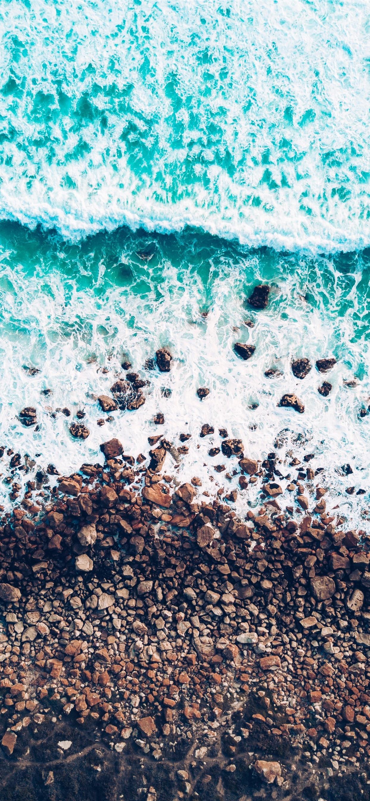 Wallpaper Blue Sea Waves Foam Stones 3840x2160 Uhd 4k