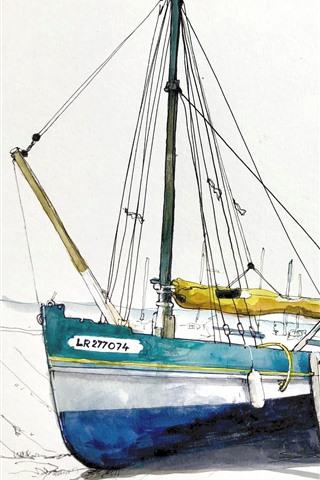 iPhone Wallpaper Boats, pier, watercolors