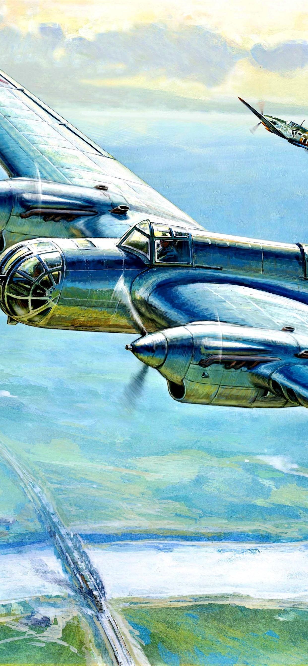 爆撃機 第二次世界大戦 アート絵画 1242x2688 Iphone 11 Pro Xs Max