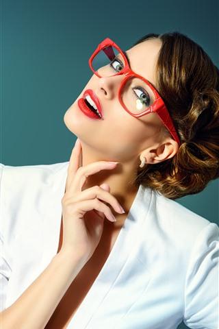 iPhone Wallpaper Brown hair girl, white dress, glasses