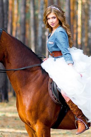 iPhone Wallpaper Brown hair girl, white skirt, horse