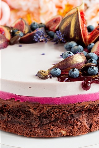 iPhone Wallpaper Chocolate cake, figs, blueberries