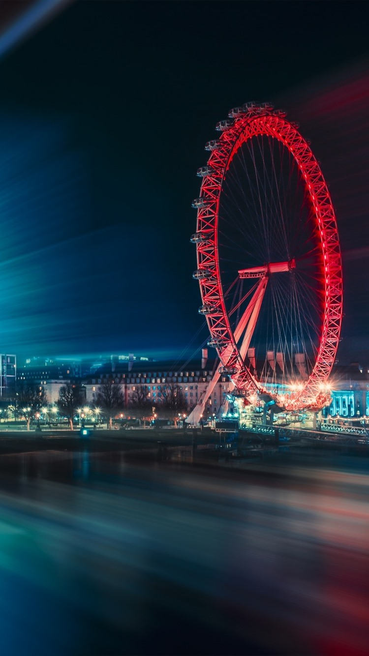 City Night Ferris Wheel Light Lines River 750x1334