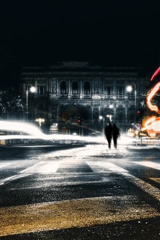 iPhone Wallpaper City, night, light lines, street
