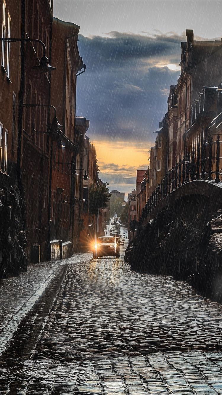Wallpaper City Rain Road Buildings 2560x1600 Hd Picture Image
