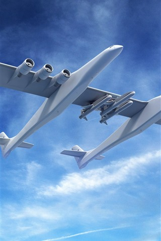 iPhone Wallpaper Fantasy plane, design, blue sky, clouds