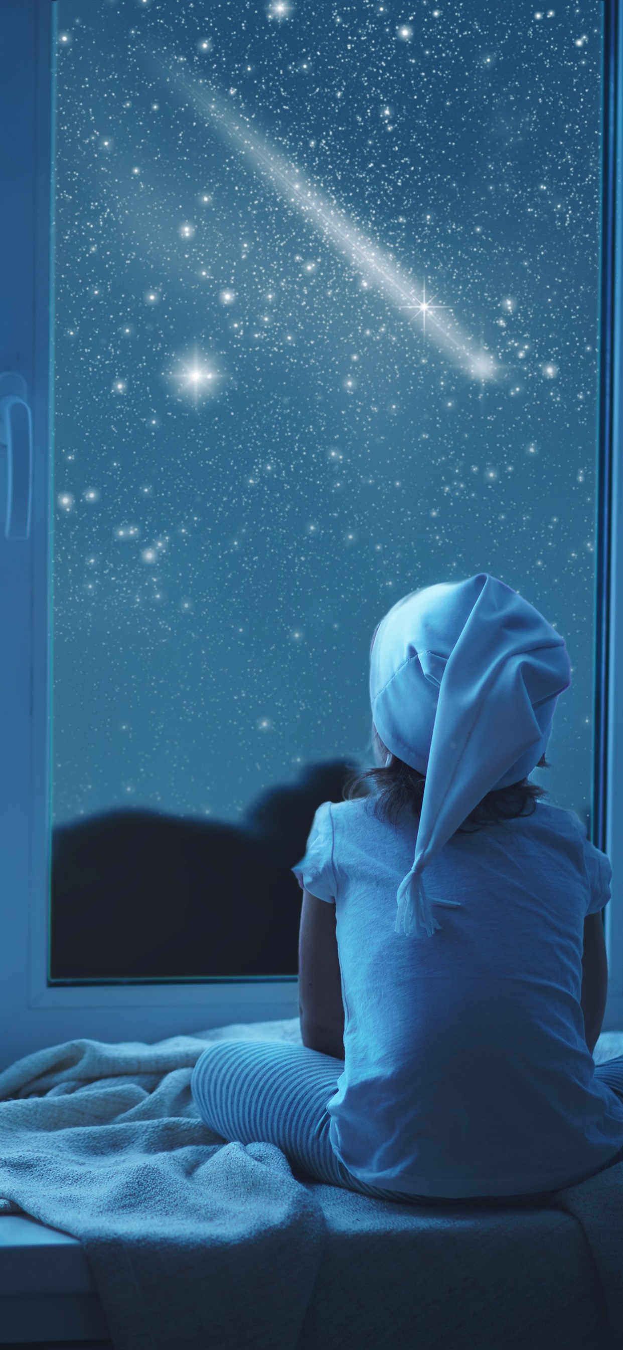 Girl And Teddy Look Out The Window Night Stars Moon 1242x2688 Iphone 11 Pro Xs Max Wallpaper Background Picture Image