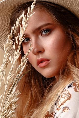 iPhone Wallpaper Girl, look, hat, wheat