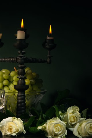 iPhone Wallpaper Green grapes, white roses, candles, flame, glass cups