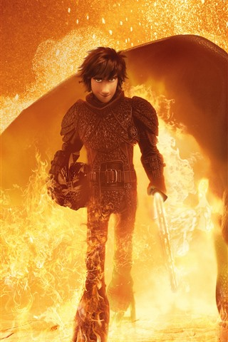 iPhone Wallpaper How to Train Your Dragon 3, fire, sword
