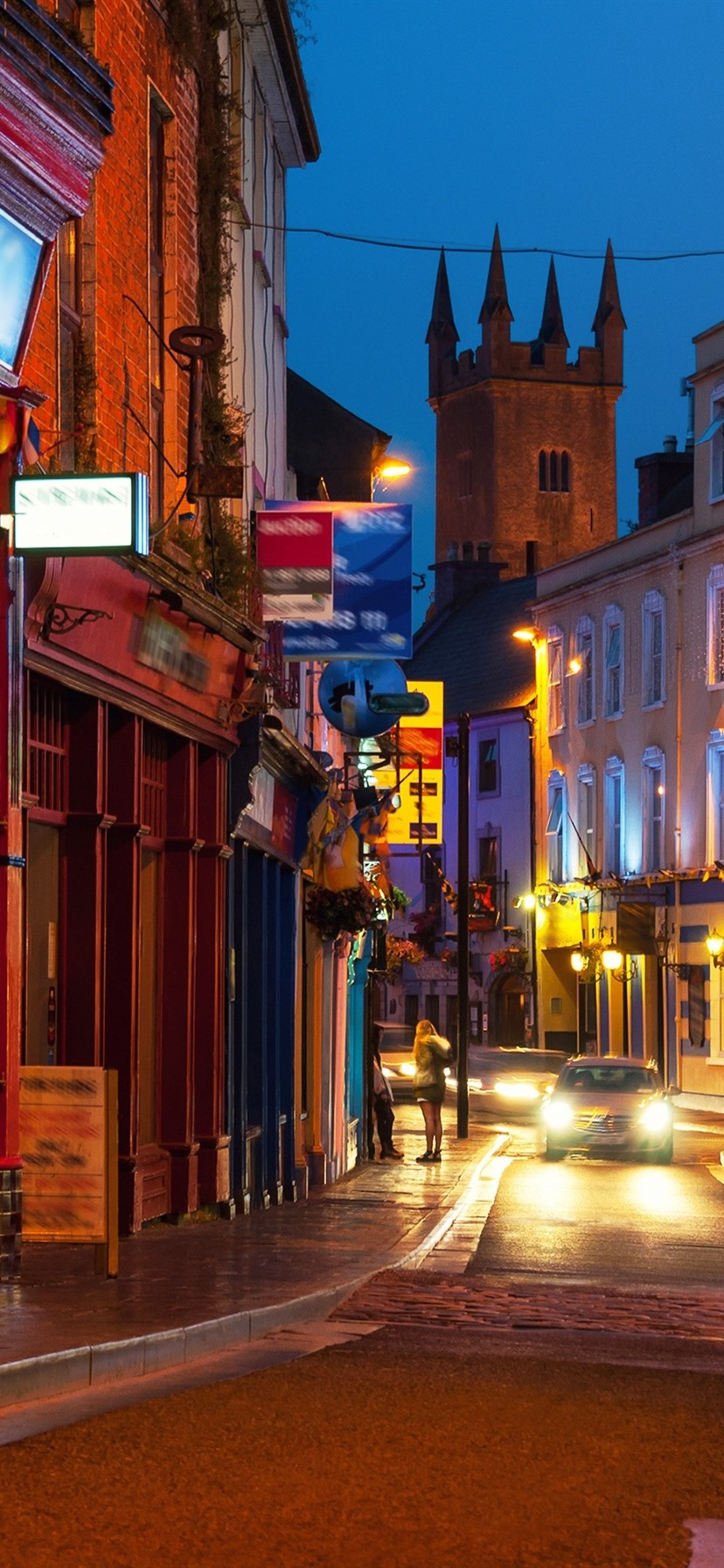 Ireland City At Night Houses Street Lights 828x1792
