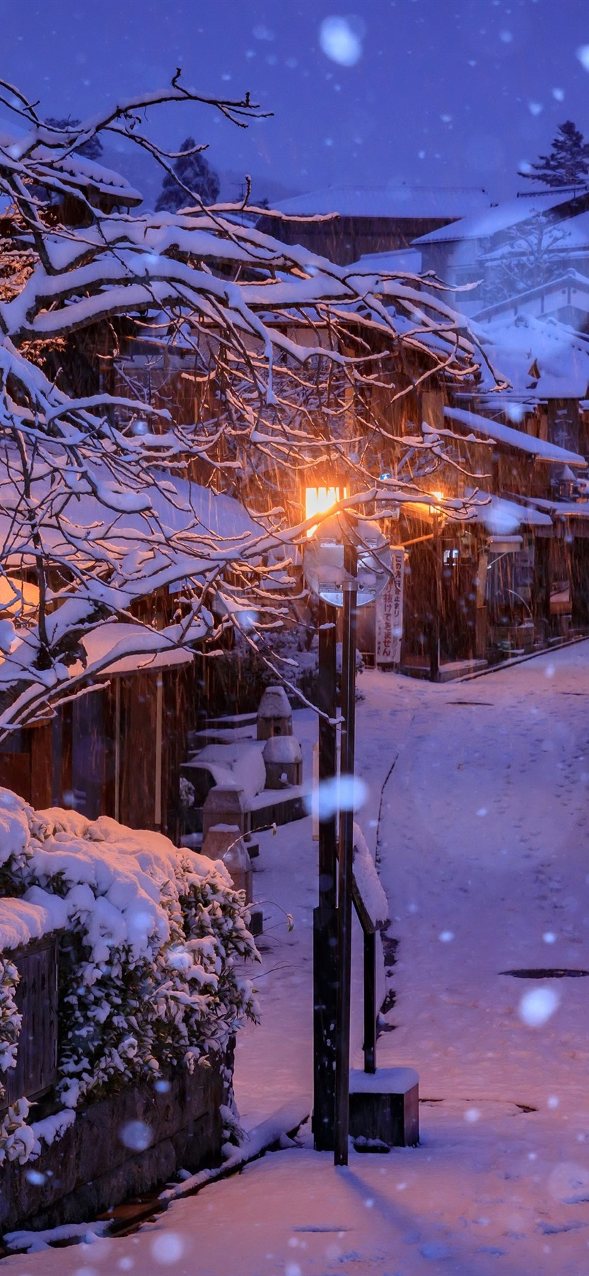 Wallpaper Japan Kyoto Houses Snow Trees Night Lights 3840x2160 Uhd 4k Picture Image