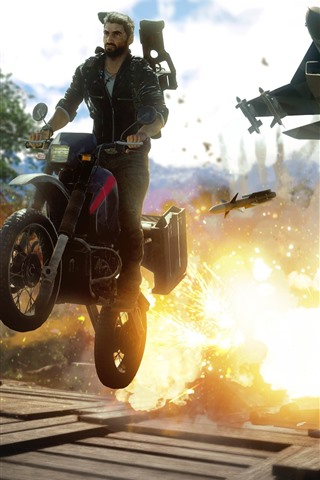 iPhone Wallpaper Just Cause 4, motorcycle, fighter