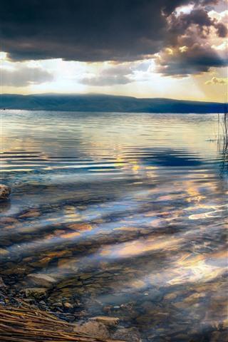 iPhone Wallpaper Lake, reeds, clouds, dusk, rocks, sun rays