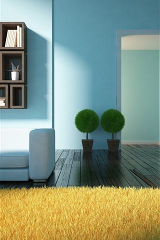 iPhone Wallpaper Living room, sofa, plants, book, wood floor, design