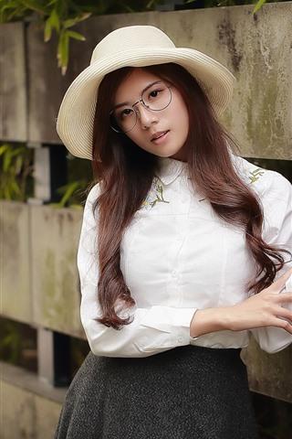 iPhone Wallpaper Long hair Asian girl, hat, glasses
