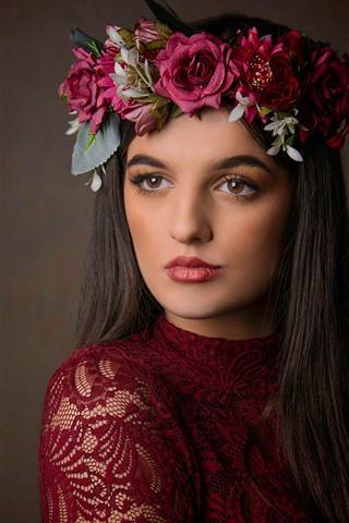 iPhone Wallpaper Long hair girl, face, wreath