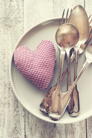 iPhone Wallpaper Love heart, spoon, fork