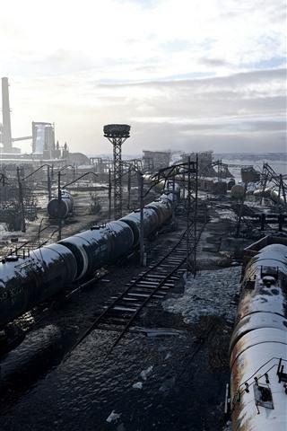 iPhone Papéis de Parede Metro: Êxodo, fábrica, neve, nuvens