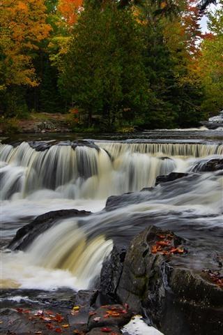 iPhone Wallpaper Michigan, Bond Falls, river, trees, autumn, USA