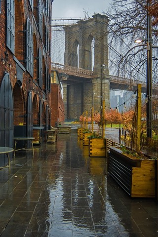 iPhone Wallpaper New York, cafe, bridge, wet, rain