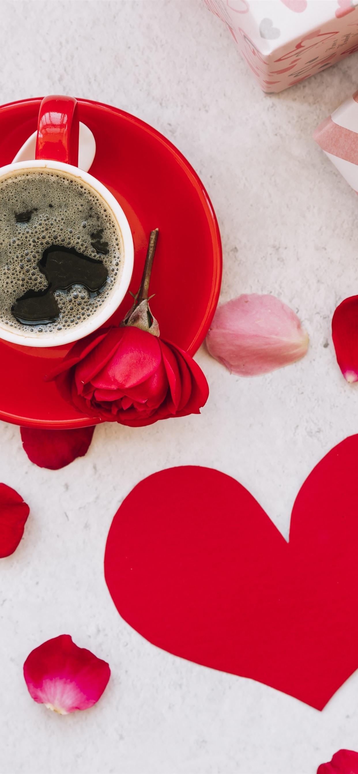 ワンカップコーヒー 赤いバラ ギフト ラブハート 1242x2688 Iphone