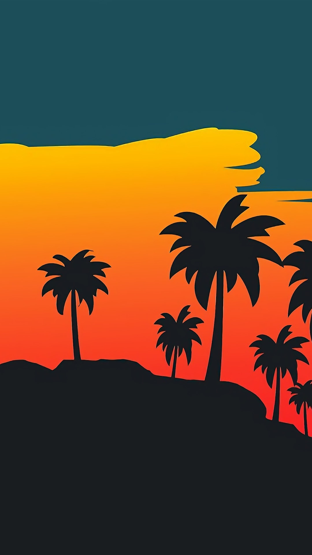 Palm Trees Sunset Vector Picture 1080x1920 Iphone 8 7 6 6s