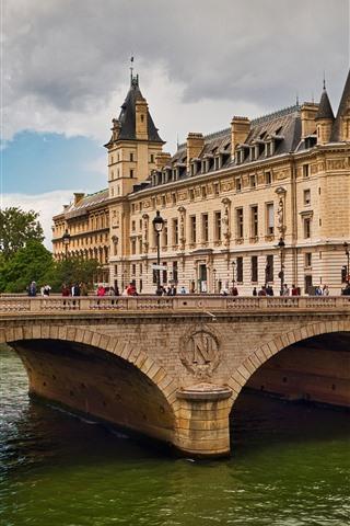 iPhone Wallpaper Paris, France, Seine River, bridge, buildings, city, people