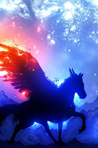 iPhone Wallpaper Pegasus, wings, starry, clouds, night, silhouette, art picture