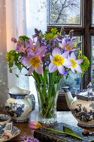 iPhone Wallpaper Purple flowers, vase, kettle, cup, tea, window, lamp