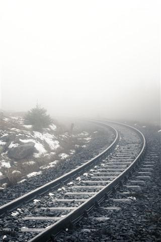 iPhone Wallpaper Railroad, fog, snow, morning, hazy