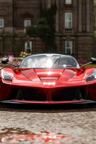 iPhone Wallpaper Red Ferrari supercar front view, Forza Horizon 4