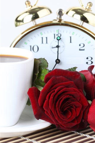 iPhone Wallpaper Red roses, coffee, pocket watch