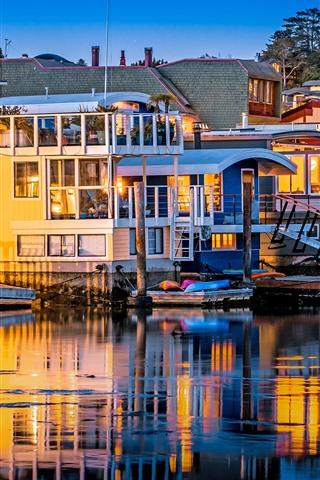 iPhone Wallpaper Sausalito, USA, houses, river, pier, lights