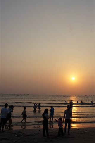 iPhone Wallpaper Shuangyue Bay, sunset, sea, Huizhou, China
