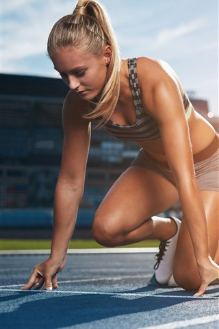 iPhone Wallpaper Sport, girl, ready to running, race