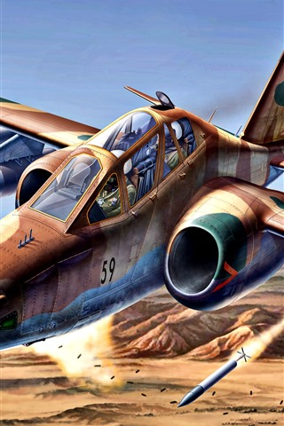 iPhone Wallpaper Su-25 military aircraft, art painting
