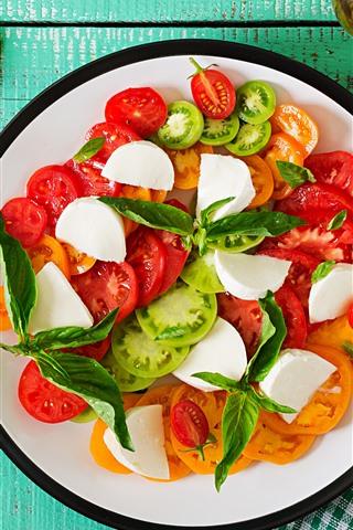 iPhone Wallpaper Tomato slices, salad