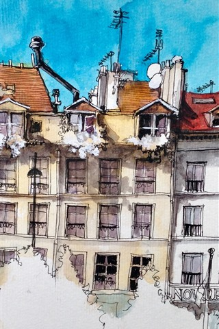 iPhone Wallpaper Watercolor painting, Paris, houses