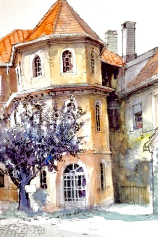 iPhone Hintergrundbilder Aquarelle, Stadt, Häuser, Lampe, Straße