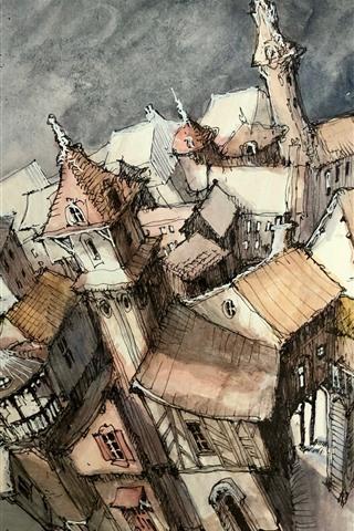 iPhone Wallpaper Watercolors, city, houses, top view