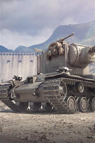 iPhone Papéis de Parede World of Tanks, montanhas, guerra