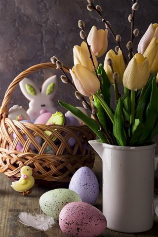 iPhone Papéis de Parede Tulipas amarelas, ovos, decoração, a Páscoa