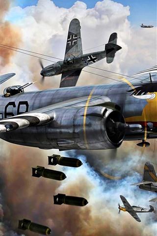 iPhone Papéis de Parede Força Aérea, bombardeiro, guerra, imagens de arte