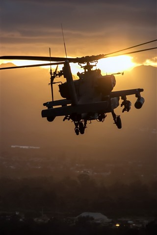 iPhone Wallpaper Apache AH-64 helicopter, flight, sunset