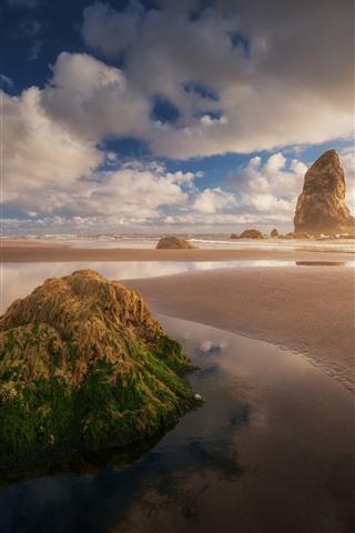 iPhone Wallpaper Beach, rocks, sea, clouds, fog